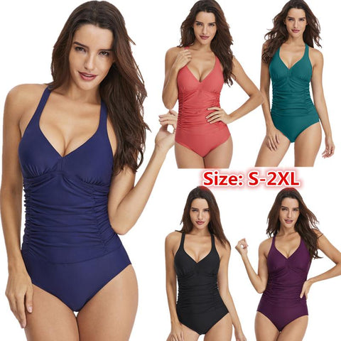 Solid Color Sexy Backless One Piece Swimsuit