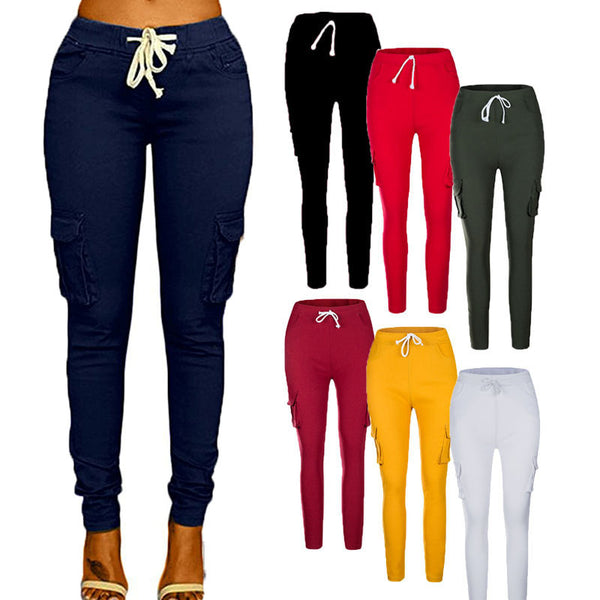 Solid Color Stretch Drawstring Skinny Pants Cargo Joggers