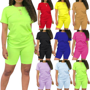 Women Fashion Plain Round Neck Short Sleeve Sports Casual T-shirts + Shorts Two Piece Outfit