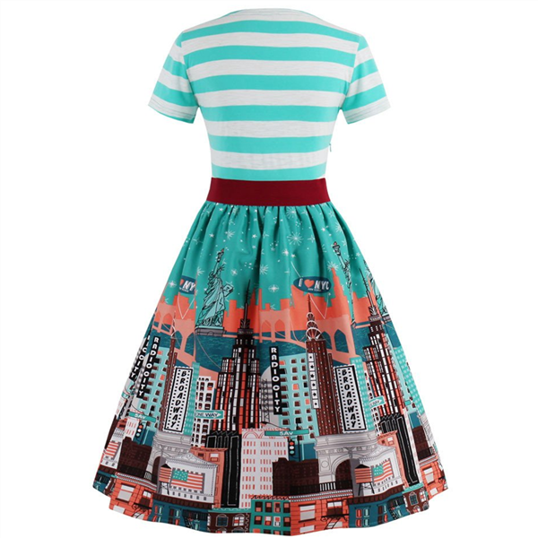 Striped with Belt Vintage dress