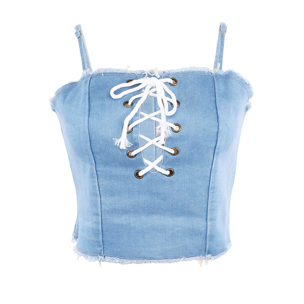 Sexy Jeans Lace Up Women Bralette Crop Tops
