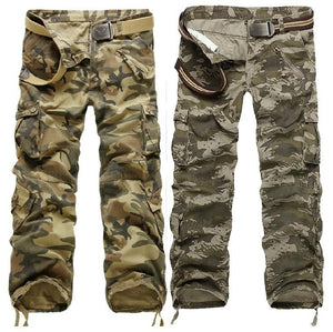 Zipper Fly Multi-Pocket Drawstring Hem Camo Cargo Pants