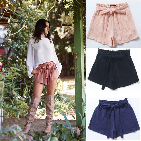 Elastic waist slimming wide leg shorts