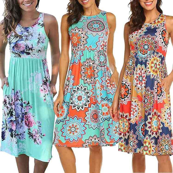 Summer Sleeveless Floral Print Midi Dresses with Pocket