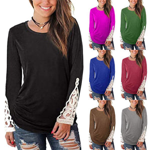 Women Solid Color Round Neck Lace Long Sleeve Ruched T-shirts Blouse Tops