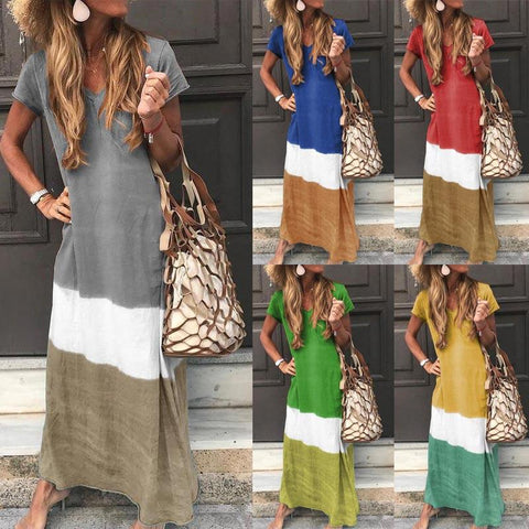Women Tie-dyed V Neck Linen Short Sleeve Maxi Dress