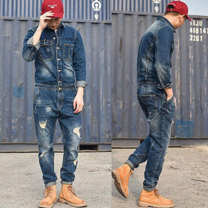 Men Retro Casual Denim Jacket Long Sleeve One Piece Slim Jeans Jumpsuit Overalls Coveralls Workwear