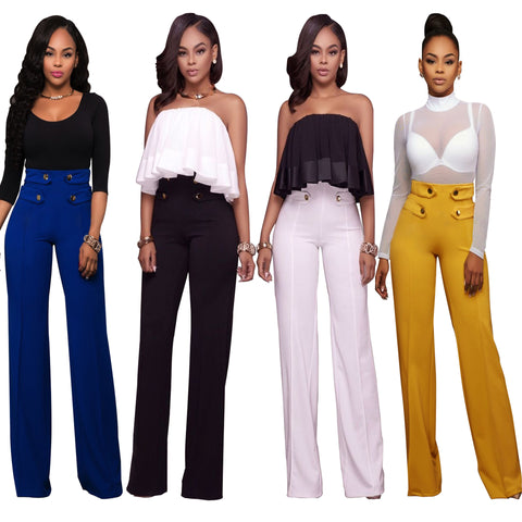 High Waist Sailor Wide Leg Pants