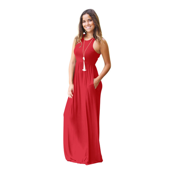 Casual Loose Sleeveless Long Sleeve Plain Maxi Dress with Pockets-pinkalways