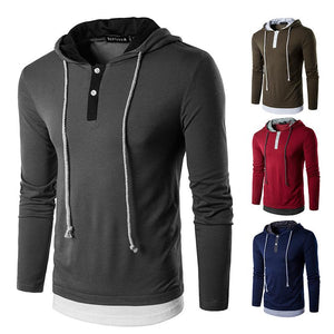 Men's Fake Two-Piece Drawstring Long Sleeve T-Shirt