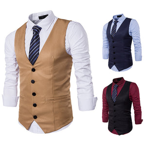 Fashion Solid Color Single Breasted Gentleman's Vest Waistcoat