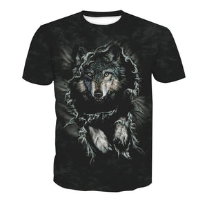 3D Wolf Print Short Sleeve T-shirt