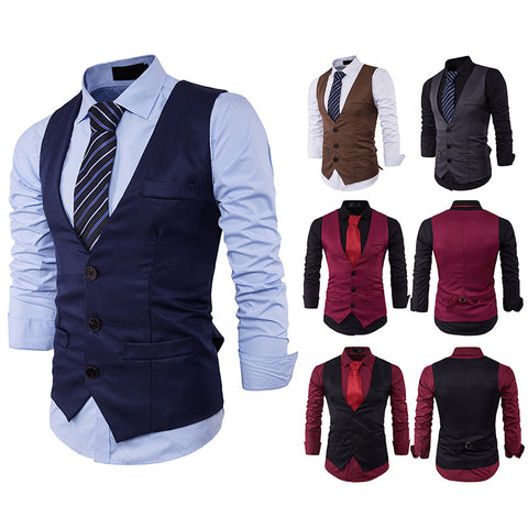 Slim Single Row Three Buckle Solid Color Vest Waistcoat