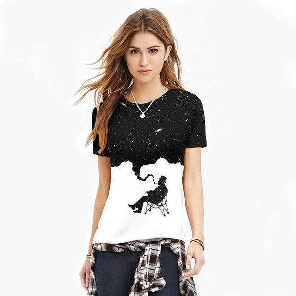 Black and White Printing Short Sleeve T-shirt