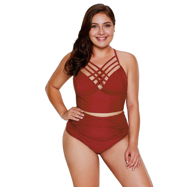 Plus Size Strappy Neck High Waist Swimsuit