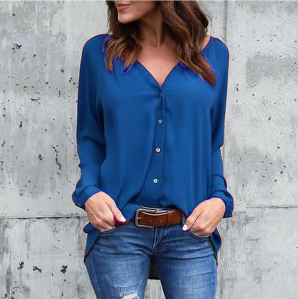 Loose Chiffon V Neck Casual Long Sleeve Button Blouse
