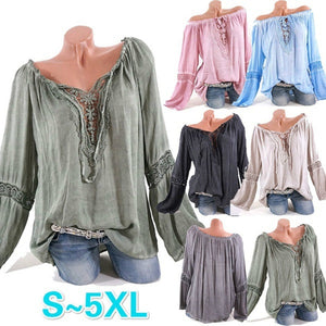 Casual V-neck Lace Patchwork Sexy Wrapped Blouse