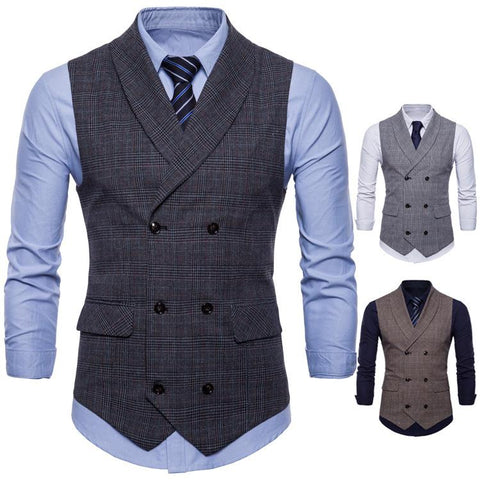 Fashion Business Casual Plaid Vest