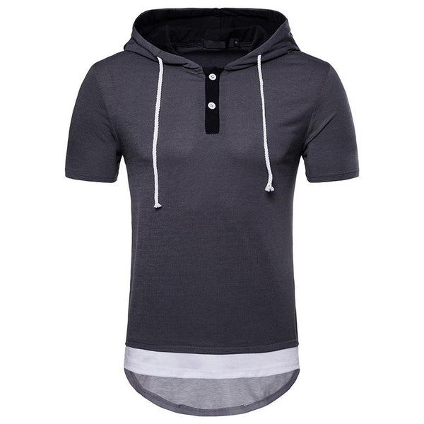 Men's Large Size Hip Hop Arc Short Sleeve Hoodie T-shirt