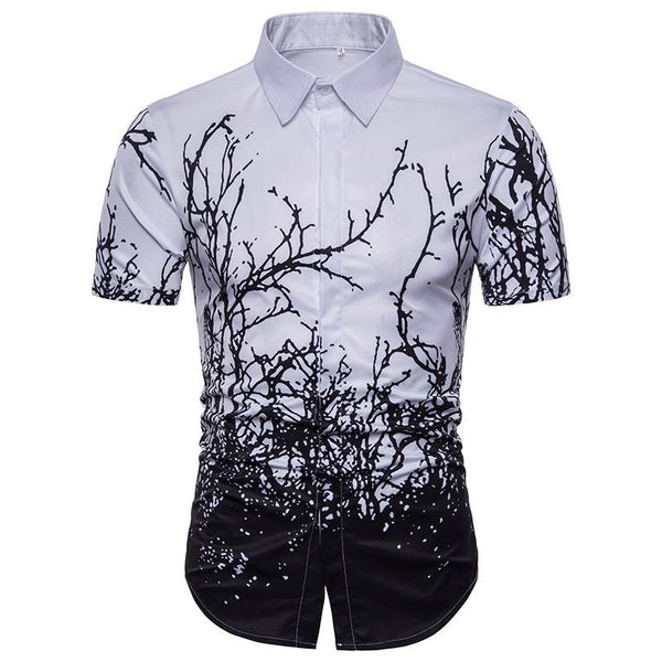 Men's Casual Twig Print Short Sleeve Large Size Shirt