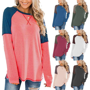 Women Patchwork Round Neck Long Sleeve Casual Loose Shirt Blouse Tops