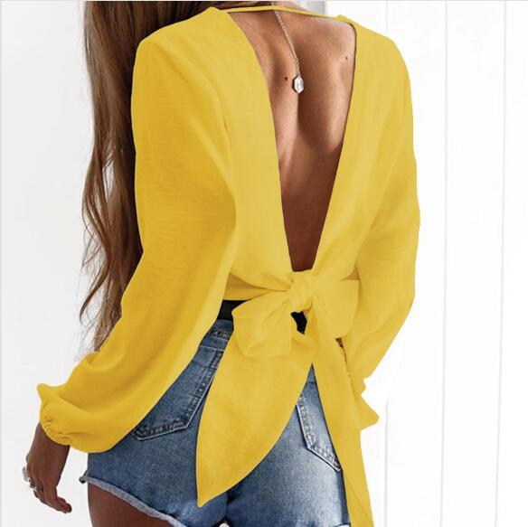 V-neck backless sexy top