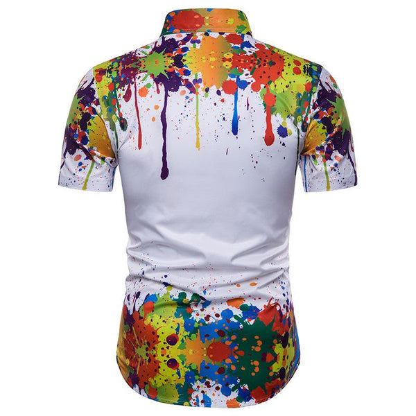 Men's Casual Ink Print 3D Short Sleeve Shirt