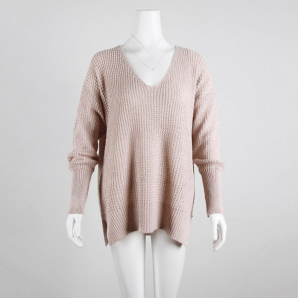 Loose V-Neck Long Sleeve Pullover Knitted Sweaters Jumpers Tops