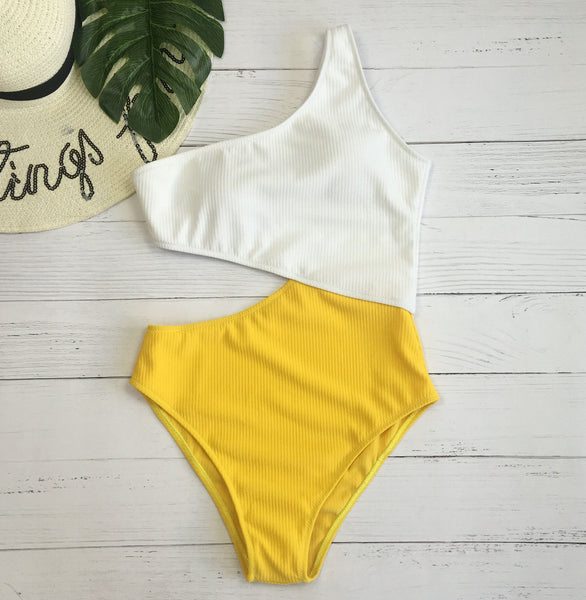 Cutout Ribbed One Shoulder One-Piece Swimsuit