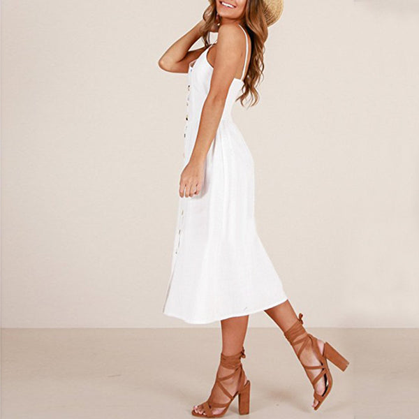 Sexy Strap Sleeveless Solid Color Long Elegant Dress