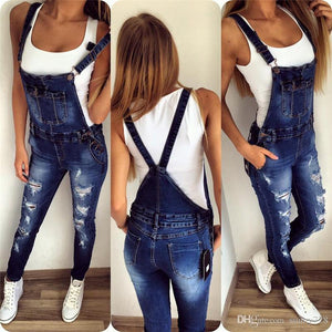 Fashion Hole Button Pocket Causal Long Overalls Jumpsuits