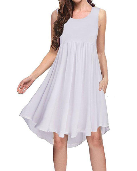 Solid Color Sleeveless Loose Swing Flare Dress