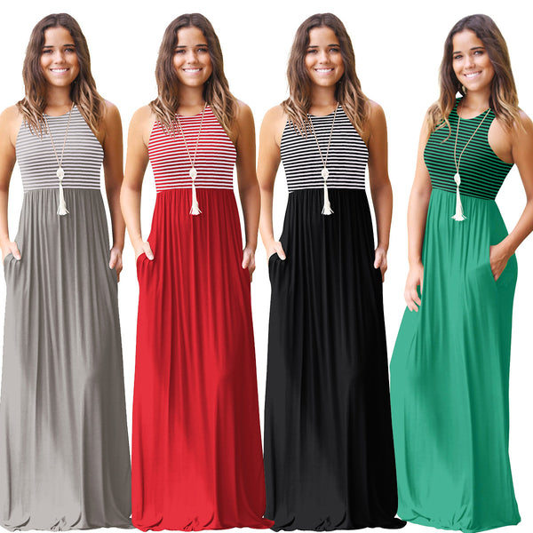 Womens Striped Long Party Maxi Dress