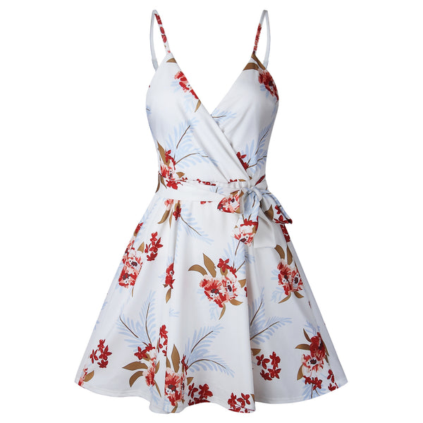 Fashion Printed Halter V-neck Wrap Strap Dress