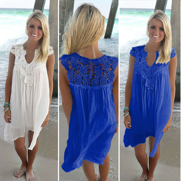 Summer Lace-Paneled Chiffon Loose Dress