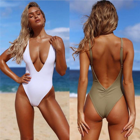 Solid Color Sexy V-neck One-piece Swimsuit