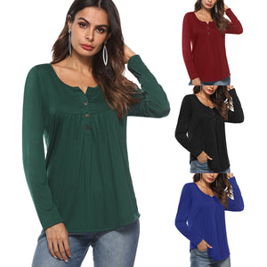 Button Pleated Long-sleeved T-shirt