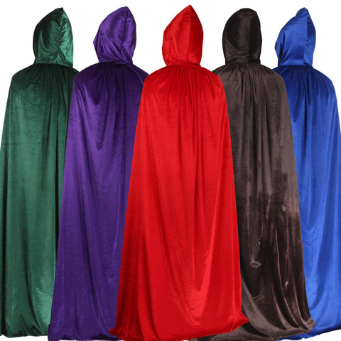 Halloween Cape Halloween Cloak COS Death Costume Witch Witch Wizard Cloak Child Adult Gold Velvet Cloak
