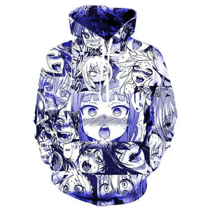 Ahegao Anime 3D Face Print Pullover Unisex Hoodie
