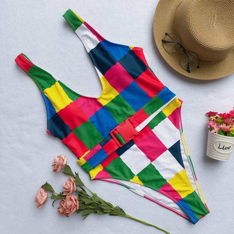 Colorful Striped One-Piece Swimsuit