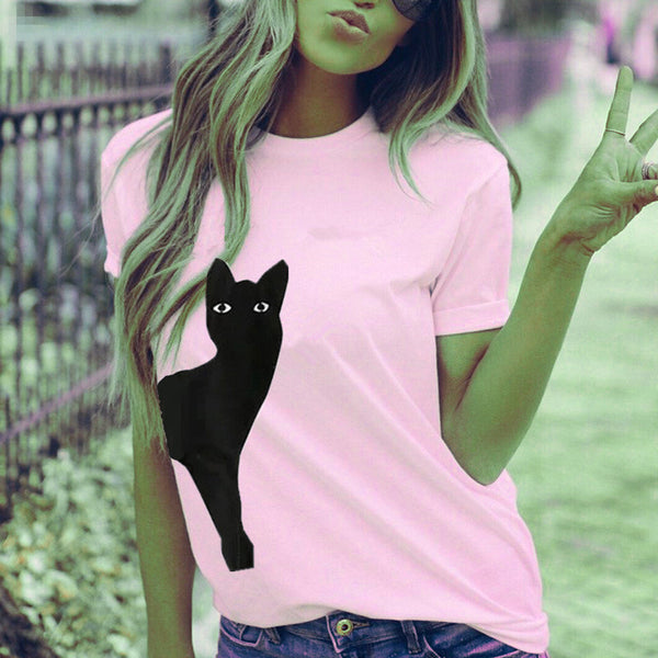 Cat Print Short Sleeve T-Shirt Top