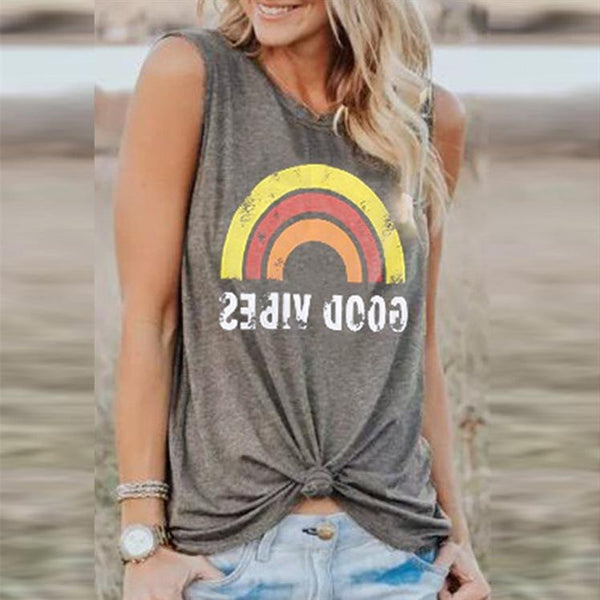 Fashion Print Sunrise Rainbow Round Neck Short Tank Top