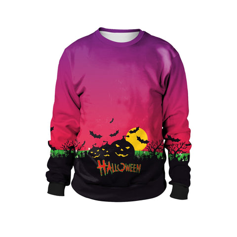 Pumpkin Head Print Round Neck Long Sleeve Sweatshirt