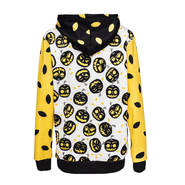 Halloween Pumpkin Head Print Loose Sweatshirt Hoodie