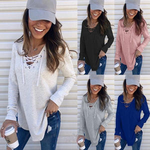 Women Sexy Plain V Neck Long Sleeve Lace Front T-shirts Blouse Shirts Tops