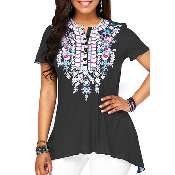 Women O-neck Button-down Floral Printed Short Sleeve T-shirt