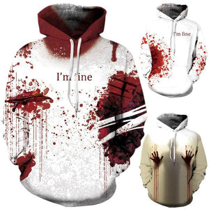 Halloween Skull Digital Print Long Sleeve Hoodie