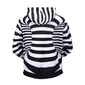 3D Striped Print Hooded Sweatshirt