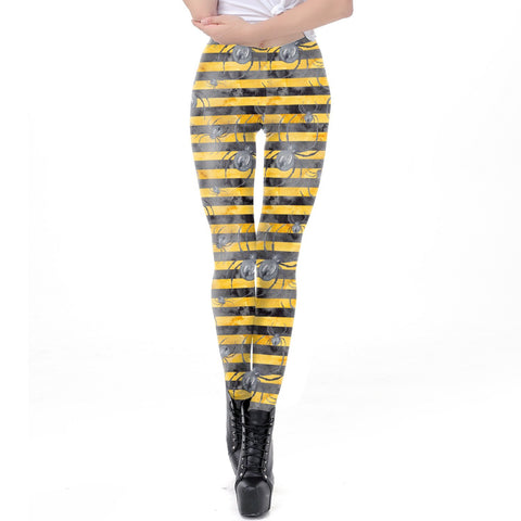 Halloween Black and Yellow Striped Spider Print Leggings