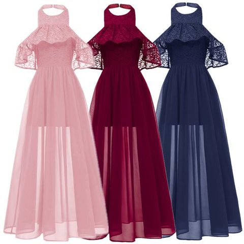 Halter Chiffon Long Dress Party Bridesmaid Dress
